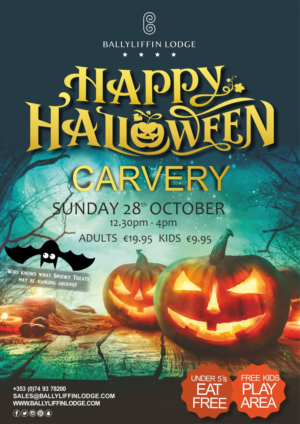 Halloween Carvery at Ballyliffin Lodge & Spa Sunday 28th October 2018