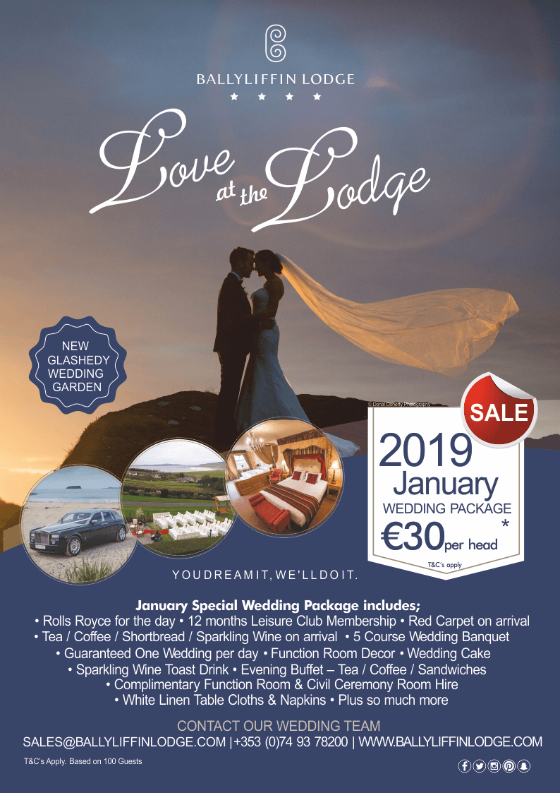 January Sale Wedding Package 2019 Ballyliffin Lodge & Spa