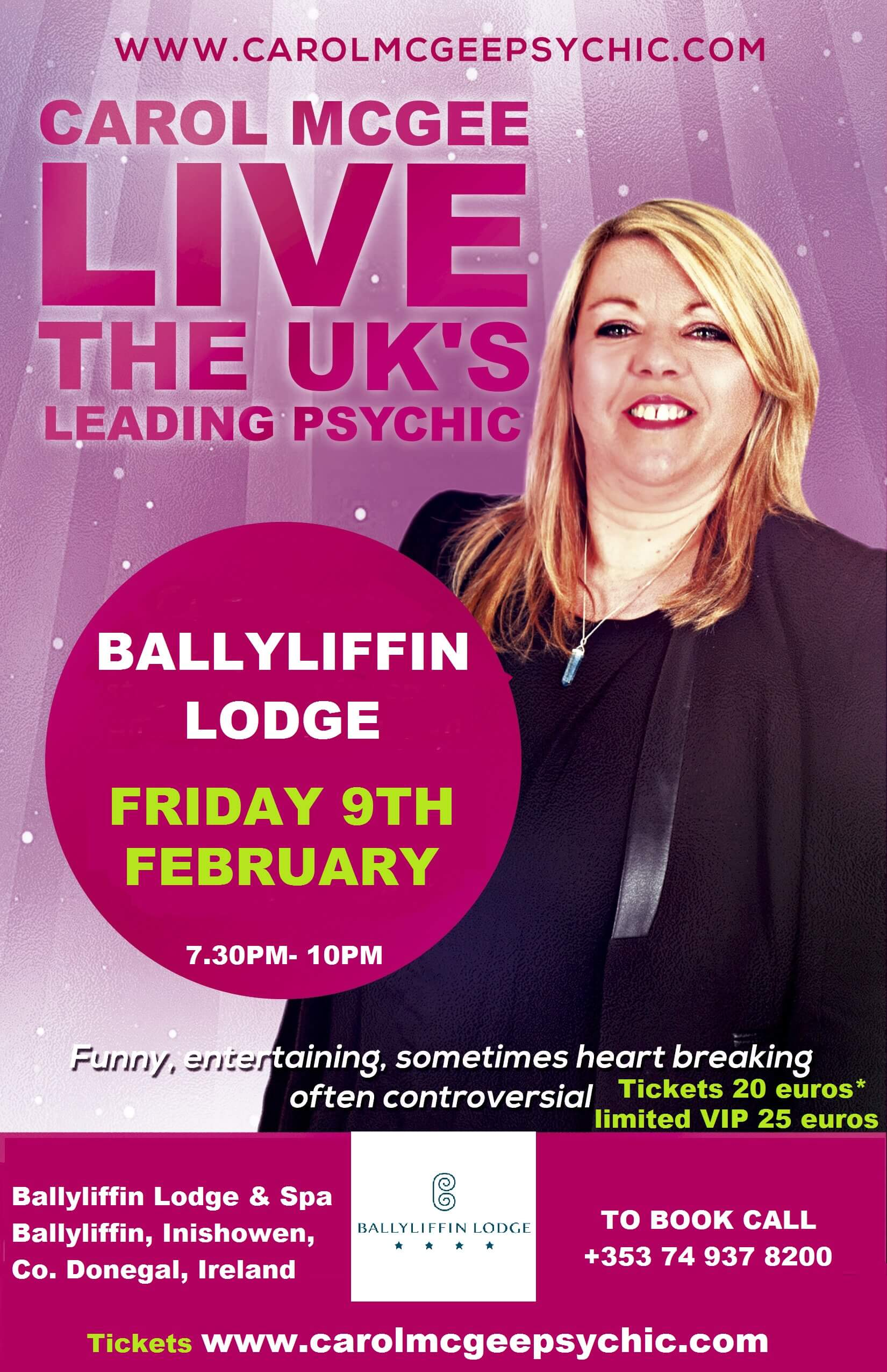 Psychic Night at Ballyliffin Lodge & Spa 9th February 2018