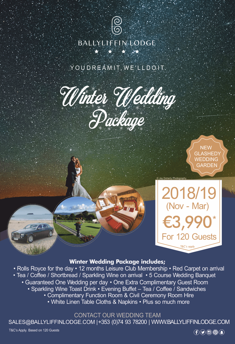 Ballyliffin Lodge & Spa Winter Wedding Package 2018 /19